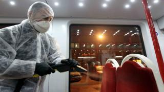Samsun'da tramvaylar dezenfekte ediliyor