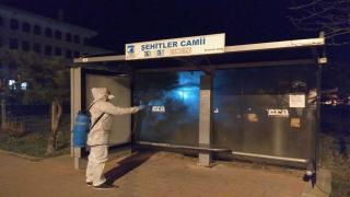 Çanakkale'de pazar yerinde dezenfekte çalışması